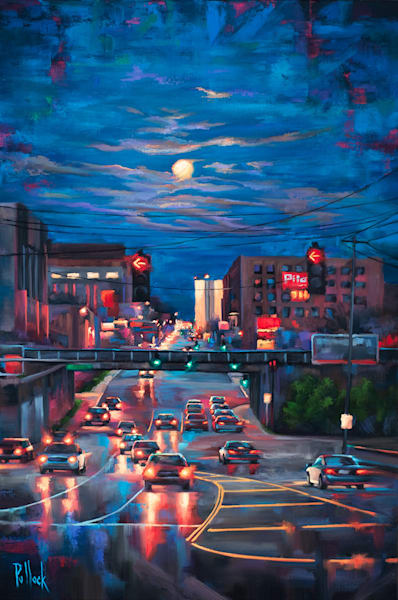 Knoxville Nocturne, Cumberland Avenue oil on canvas | Sarah Pollock Studio