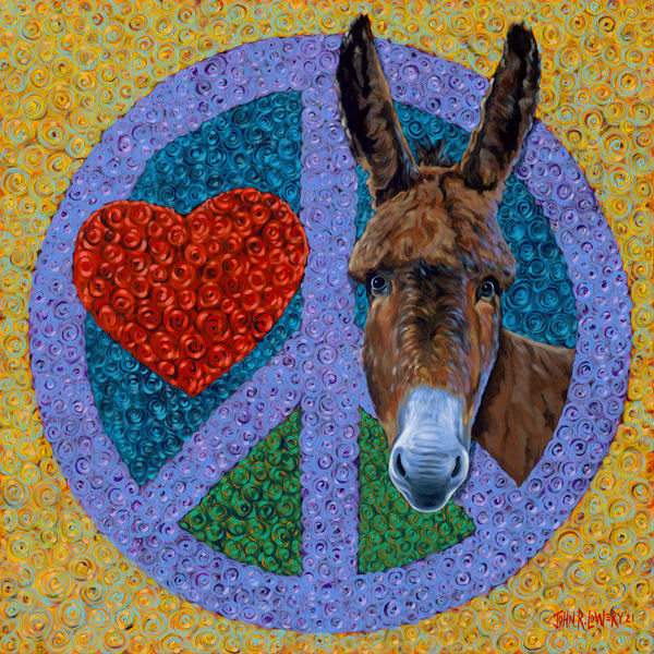Colorful donkey paintings by John R. Lowery, available as art prints.