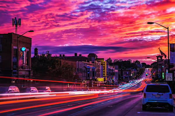 October Skies Over Rush Hour Traffic In St. Charles, Il Photography Art | Rinenbach Photography