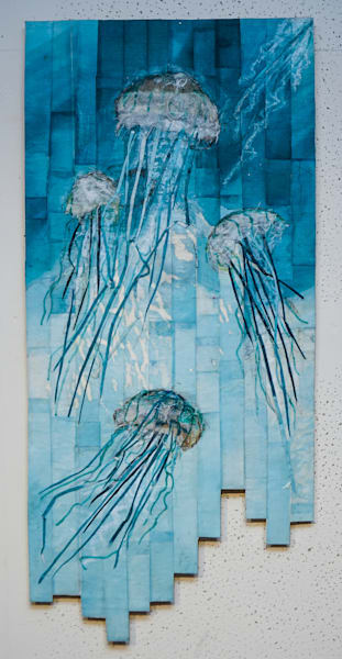 """Jellies"" by artist Muffy Clark Gill is a batik and mixed media wall hanging"
