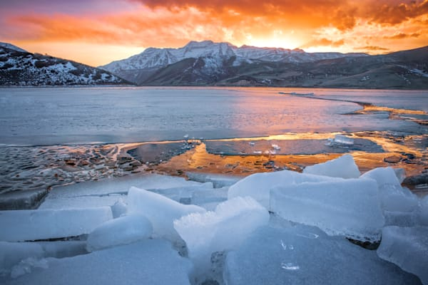 deer creek spring ice sunset
