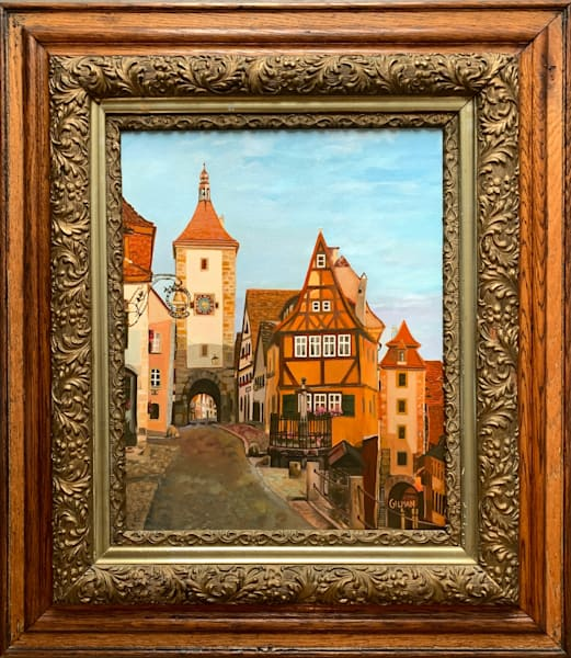 Rothenburg Bavaria -Iconic Old Square Oil Painting by Emily Gilman Beezley