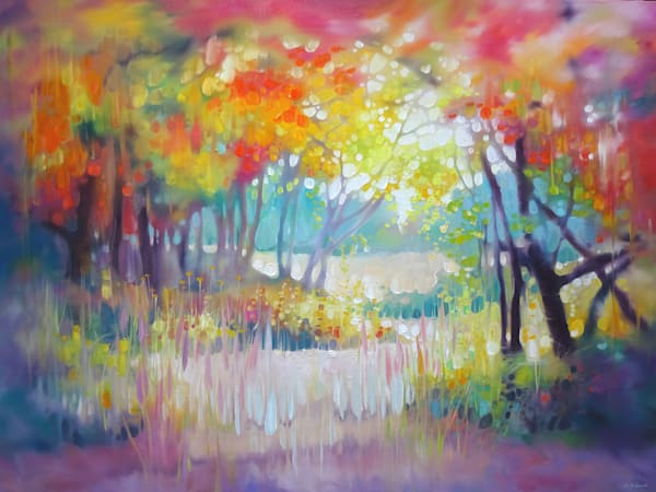 large brightly coloured oil painting of a Sussex countryside landscape