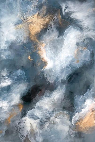 Light Blue & Gold Cloud Resin Artwork