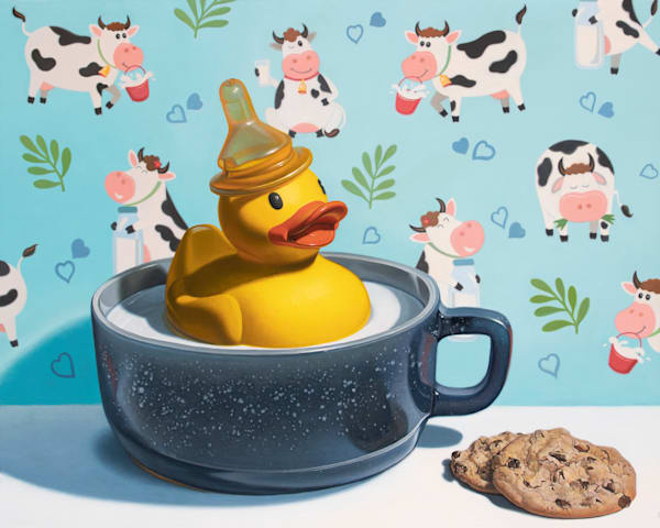 """""""Milk Duck"""" with rubber duck print by Kevin Grass"""
