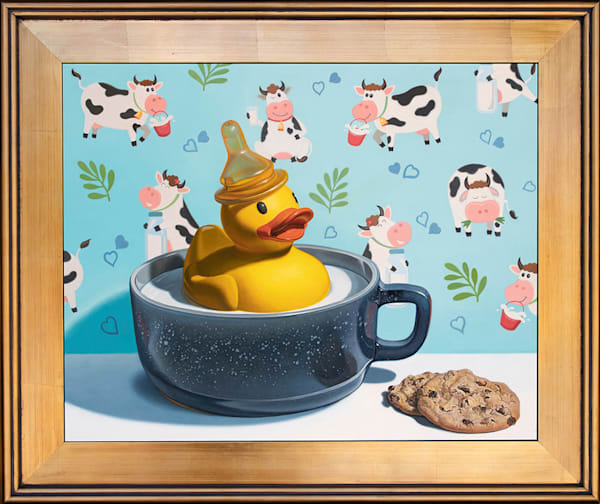 """Whimsical """"Milk Duck"""" painting by Kevin Grass"""
