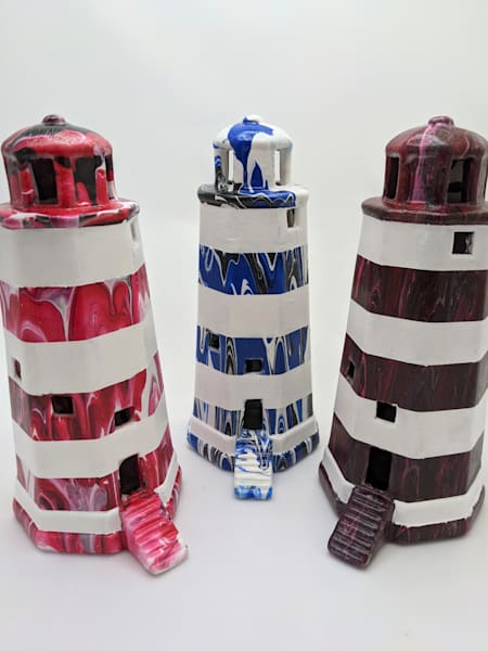 Hand Painted Ceramic Lighthouse Lamp  Fluid Art
