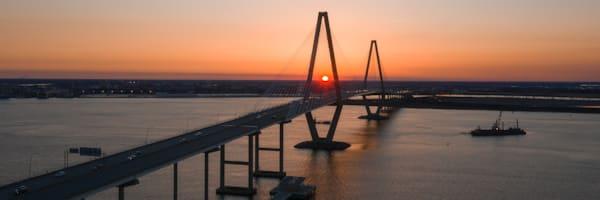 Beautifully Lit Suspension Bridge in Charleston SC