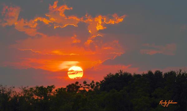 Sun Ball In Orange And Blue Gray Skies Art | Randy Johnson Art and Photography