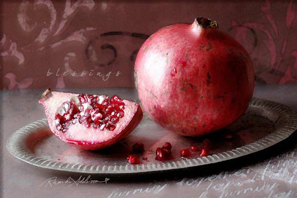 Pomegranate on Silver Tray