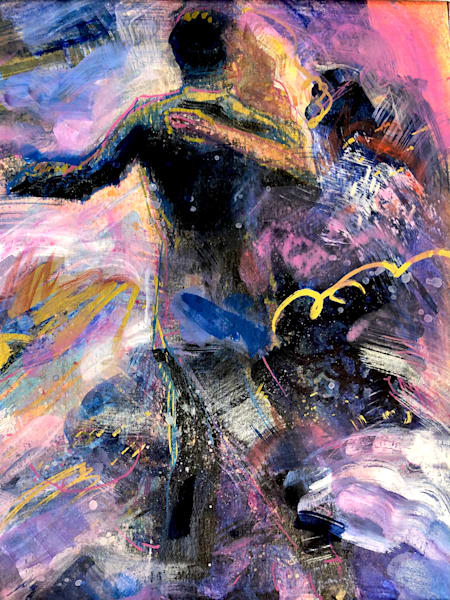 "Romantic lush abstract prophetic art with dancers ""Heaven Dancers 1"" painting with oils and mixed media on 12x9"" Arches paper."