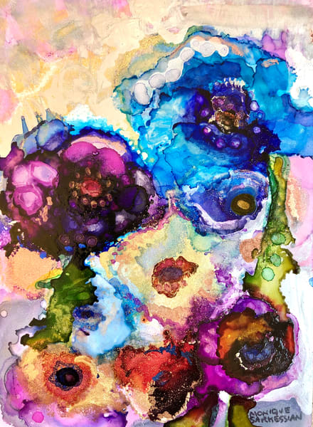 """High quality print of prophetic art """"Glory Carriers 19"""" heaven landscape with blue poppies and mixed color flowers."""