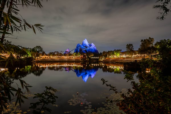 Nighttime Reflections Of Expedition Everest Photography Art | William Drew Photography