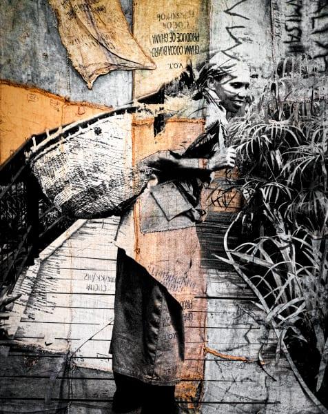 Tea Leaf Picker (Rwanda) No. 1, Mixed Media, 2020 by artist Carolyn A. Beegan