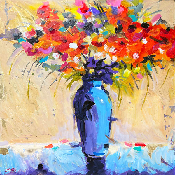 Blue Vase And Red Flowers Art | Charles Wallis