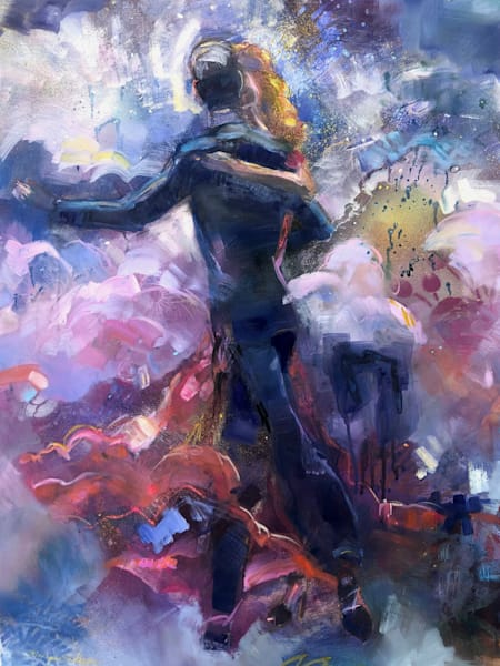 """Romantic lush abstract prophetic art with dancers """"Heaven Dancers 3"""" painting with oils and mixed media on 28x20 Arches paper."""