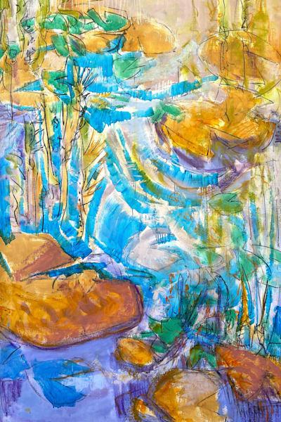 Water Lilies Mural Painting, Original Art by Dorothy Fagan