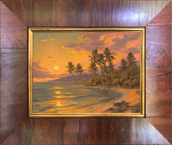 Summer Sunset Framed Red Olive Wood