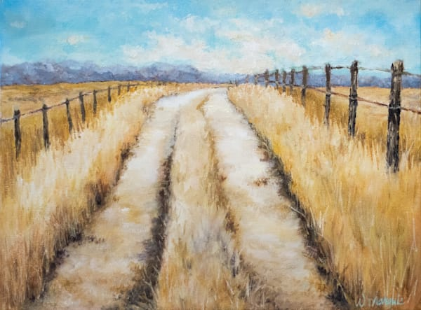 road, wheat, painting