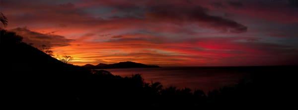 Beautiful panorama of sunset in Fiji.