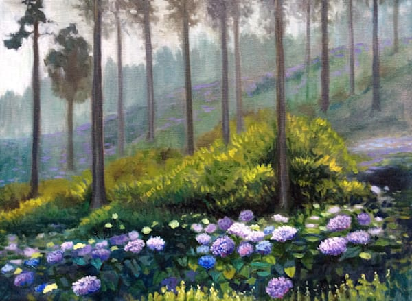 Hydrangeas in the Mist Original Romantic Fine Art Oil Painting