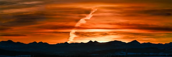 Fiery sunset over the Eastern Slopes of the Canadian Rockies. Canadian Rockies|Rocky Mountains|