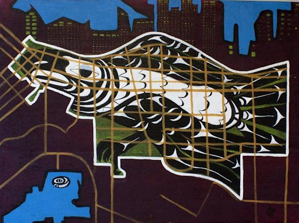 "DTES-Eagle Cage,  PRINT, (Original Mix Media on Canvas 30""x 40"")"
