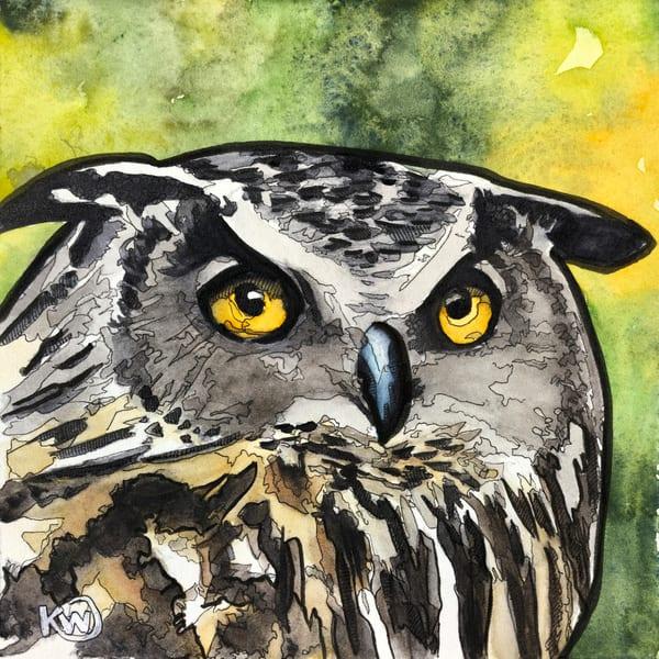 Great Horned Owl Art Print Art   Water+Ink Studios
