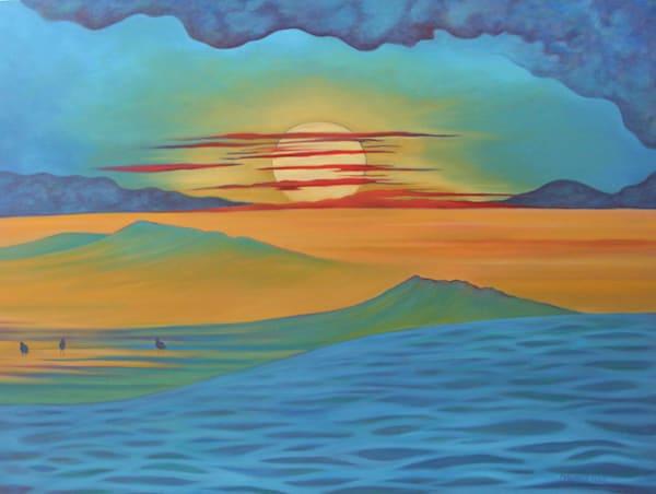 """Storm Break At Sunset"" Oil On Canvas Art   Margaret Biggs Fine Art"
