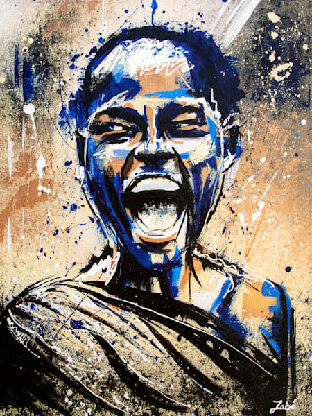 Woman screaming with joy acrylic painting