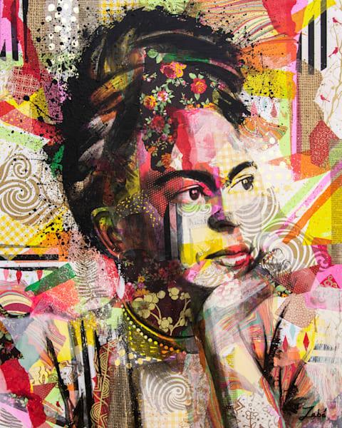 Mixed media artwork featuring Frida Kahlo
