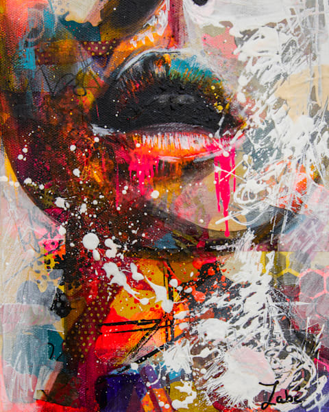 Sensul lips in collage and acrylic painting