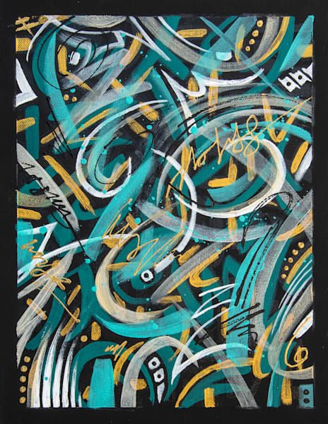 Abstract acrylic painting in teal and gold colors