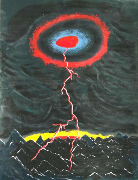 Red Crazed Lightning Photography Art   ArtbyAEllis