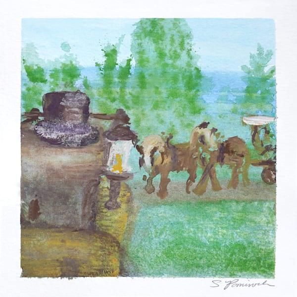 Barn View Watercolor Art   S Pominville