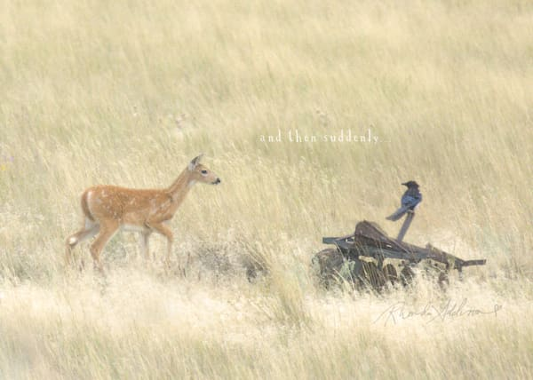 Deer & Blue Jay Sparkly Art