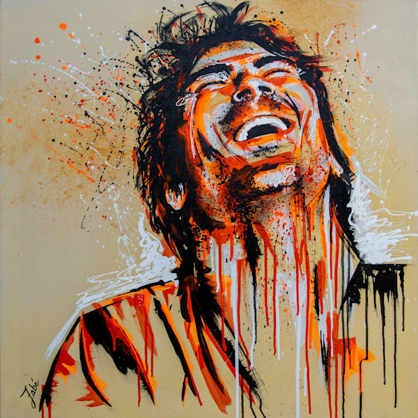 Laughing guy acrylic painting