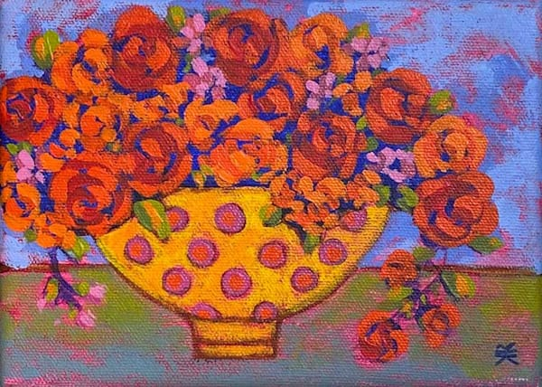 Roses With Polka Dot Vase Art | Fountainhead Gallery