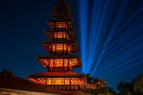 Tiki Room Tower At Night Photography Art   William Drew Photography