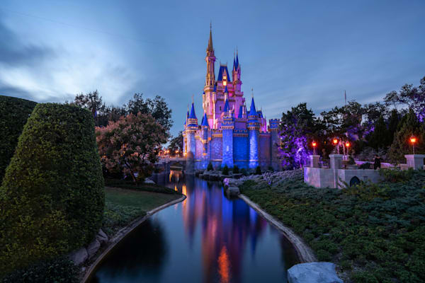 Pink And Blue Cinderella Castle Photography Art | William Drew Photography