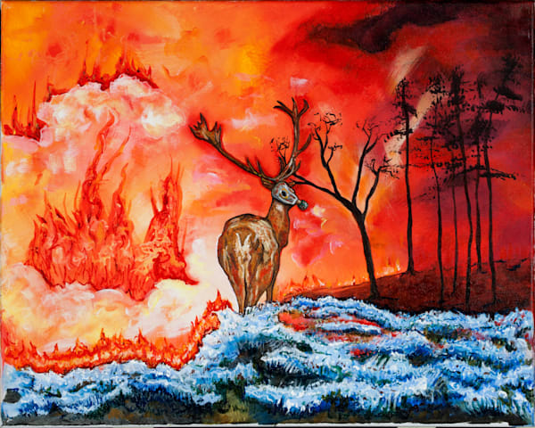 Ice To The Earth, Fire To The Sky, Acrylic Painting Art | Sarah E. McCord- Metaphysical Portraitist