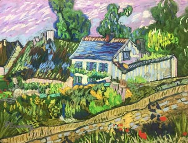 Van Gogh's House of Auvers in soft pastels by artist Mary Planding