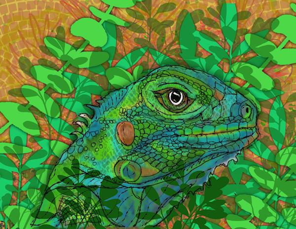 Iguana In Hiding Art | Lynne Medsker Art & Photography, LLC