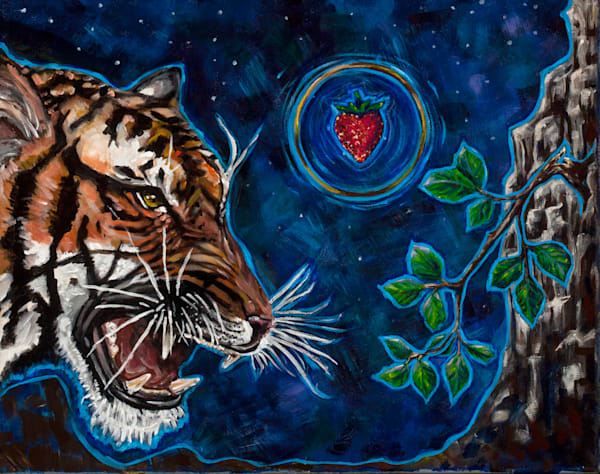 Eat The Strawberry, Acrylic Painting Art | Sarah E. McCord- Metaphysical Portraitist