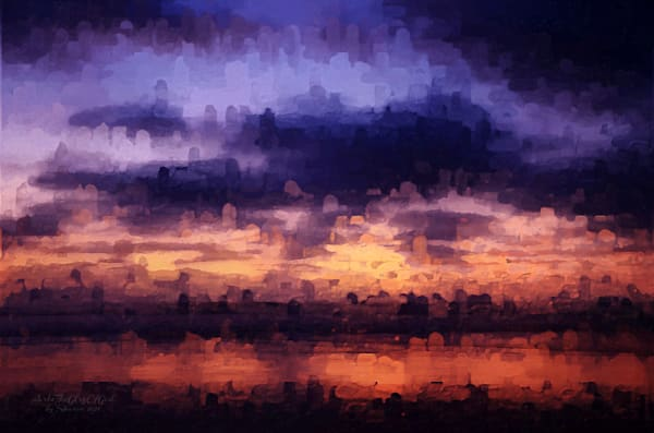 """""""Abstract Evening Beach Reflection"""" - digital painting photograph"""