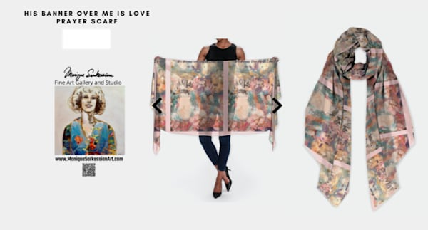Modal scarf handprinted with Monique Sarkessian's prophetic art, His Banner Over Me Is Love.