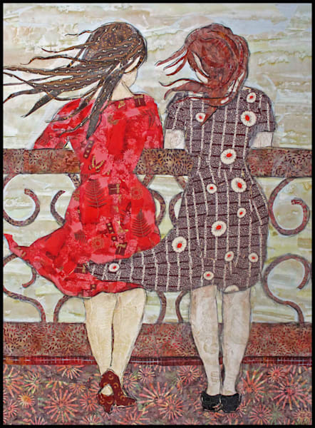The Conversation depicts sisters on a balcony by Sharon Tesser