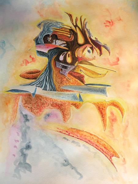 Alien Warrior - Original Ink and Watercolor on Paper