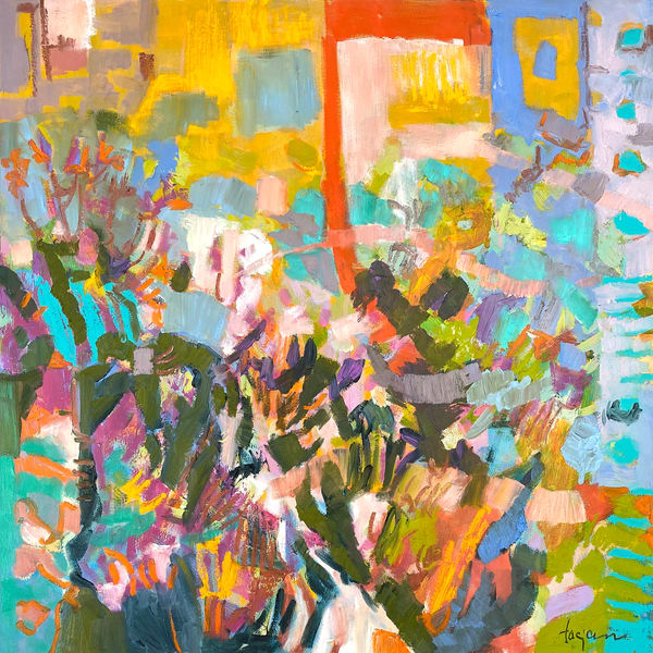 Happy Abstract Canvas Painting Print by Dorothy Fagan