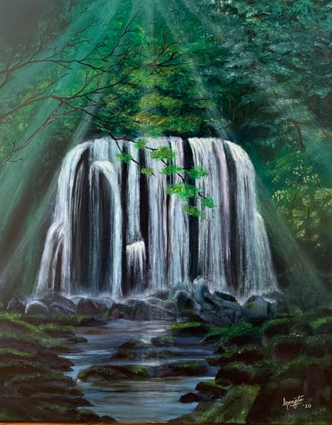 """Waterfall and Sun-rays"" - Oil on stretched canvas by Aprajita Lal"
